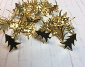 15 Christmas Tree Shaped Brads - Gold Colored Holiday Pine Trees - Scrapbooking Crafting Card Making Winter Embellishments