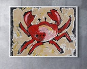 Giclee Print Red Crab Art crab decor beach art beach decor nautical art nautical decor seaside art ocean animal art ocean art