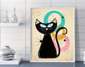 Mid Century Modern Art Giclee Print Cat Lover Gift -Cat Art Poster Wall Decor Cat Print Unique Gift Retro Art Print, Atomic Cat Art Print