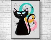 Cat Lover Mid Century Modern Art Giclee Print Cat Lover Gift -Cat Art Poster Wall Decor Cat Print Retro Art Print, Atomic Cat Art Print