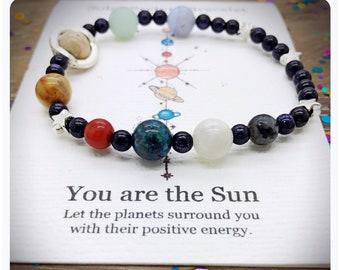 Solar System Bracelet, Space Jewellery, Planet Beaded Bracelet, Gemstone Galaxy Bracelet, Astronomy Gift, Universe Bracelet