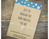 Fabulous Friend Card, Best Friend Wish Bracelet, Friendship Gift, Inspirational Wish Bracelet, Thinking Of You Gift, Friend Charm