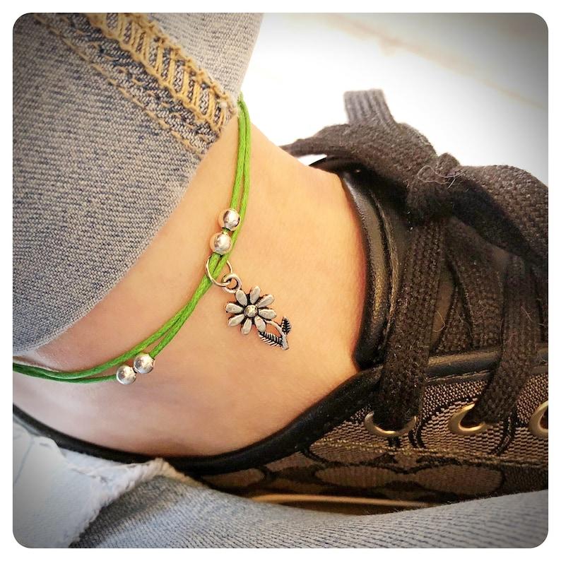 dffc3b5cb6a25 Flower Anklet, Festival Ankle Bracelet, Yoga Jewellery, Beach Jewelry,  Adjustable Cord Anklet, Floral Boho Anklet