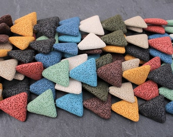 Lava Beads, Mixed Colors, Triangle Shaped, Colorful Lava Beads, Aromatherapy Beads, Essential Oils, Large Beads, Lava Beads, Volcano Beads