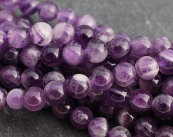 Sage Amethyst Round Beads 6mm Purple 60 Pcs Frosted  Gemstones Jewellery Making