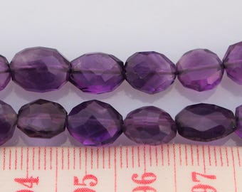 Deep Amethyst Faceted Oval Beads, 10x8mm, 8 Inch Strand, Amethyst Beads, Faceted Amethyst, Natural, Gemstone, Oval Shaped Beads, Purple Bead