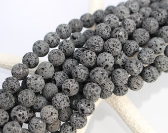 Uncoated! 8mm Lava Beads, Natural Lava, Full Strand or Half Strand, Aromatherapy, Essential Oil, Black Beads, Unwaxed Lava, Lava Beads, 8mm