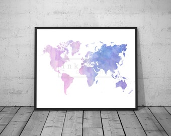 Printable Watercolor World Map