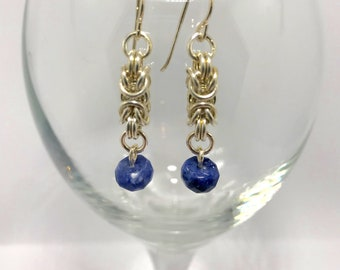 Shining silver byzantine and sodalite earrings, silver earrings, shininghopejewelry, byzantine earring, blue and silver earring, chain mail