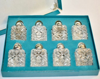 Vintage Crystal Salt and Pepper Shaker Set of 8, Shaker Set, Crystal Shakers, Salt and Pepper Set of 8, Silver Salt and Pepper Shakers
