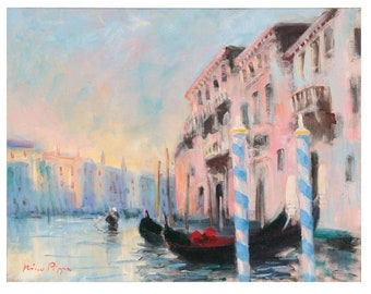 Original Oil Painting Venice, Italy Main Canal by Nino Pippa, Oil Painting on Board, Venice Painting, Signed, COA (3960)