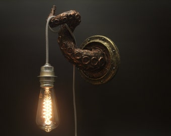 Octopus Wall Light Bracket - Tentacle Porthole Steampunk Sculpture - Industrial Wall Art Sea Pub Loft eco friendly paper mache gift