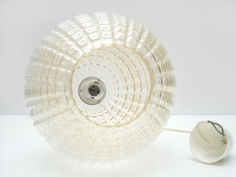 70s Pendant Lamp Big Globe Hanging Ceiling Light Hallway Mid Century Modern Aloys Gangkofner Style Amber Art Deco Crystal Pressed Glass