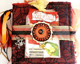 HALLOWEEN Handmade Junk Journal, TRICK or TREAT, Handmade Gothic Vintage Journal, hand sewn, journal Tags, collage,