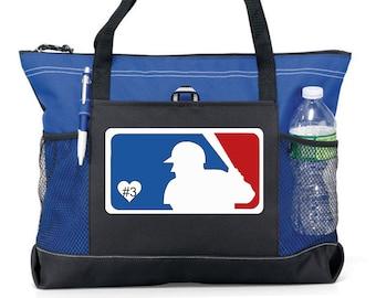 Baseball Tote Bag Take Me Out To The Ballgame Orange Black  18x18 16x16 13x13 Baseball Mom Bag
