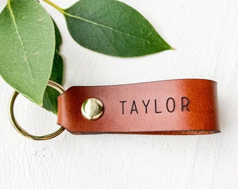 Christmas Corporate Gift Idea, Personalized Leather Keychain. Small Keyring, Stocking Stuffer Idea, Custom Name Leather Key Ring Key Fob