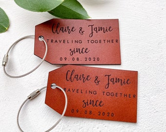 Christmas Gift Idea for Couple, Traveling Together Since Luggage Tag, Personalised Leather Luggage Tag, Travel Tag, Wedding Anniversary Gift