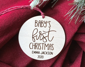 Baby First Christmas 2020, Personalized Baby Ornament, Custom Baby Name Bauble, 2020 Christmas Ornament, Wooden Ornament