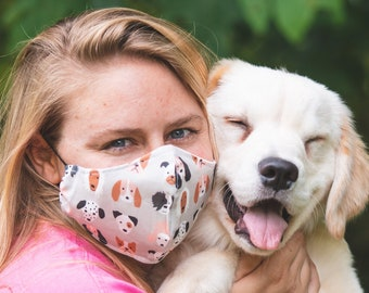 Dog Mom Dog Daddy Face Mask, Mask with filter pocket, Reusable cotton facemask
