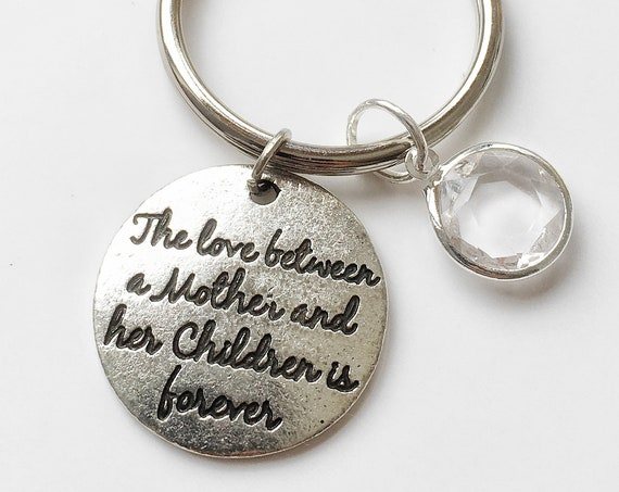 Mother day Gift Idea from Children, Mother Daughter Birthstone Gift, Mom Quote Keychain, Mother Keyring, Mom Keychain, Mother Children Quote