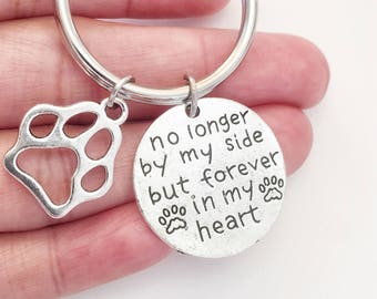 Dog Memorial Keychain - Pet Memorial Key Ring - Pet Loss - Paw Keychain - No Longer by My Side but Forever in My Heart - Dog Memorial Gift