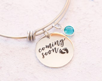 Baby Coming Soon, Custom Bangle, Swarovski Birthstone, Pregnancy Announcement, Personalized Birthstone, Expandable Bangle, Custom Birthstone