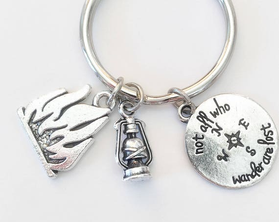 Wanderlust Gift - Travel Keychain - Wanderlust Key Ring - Compass Keyring - Lantern Keyring - Happy Campers - Traveler Gift - Camping Gift