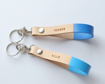 Personalize Keychain, Custom Personalized Initial, Leather Anniversary, 3rd Anniversary Leather gift, Christmas Gift for Her, Something Blue