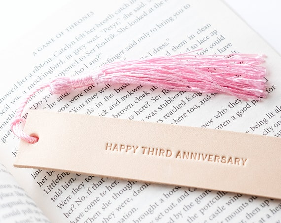 Third Anniversary Leather Gift, Anniversary Gift, 3rd Anniversary for Wife, Personalize Leather Bookmark, Gift for Book Worm