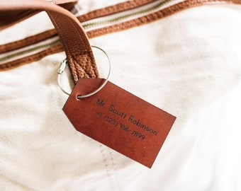 Custom Name Leather Bag Tag, Christmas Gift idea for Traveler, Holiday Gift Idea for Co worker, Corporate Gift Idea, Travel Luggage Tag Gift