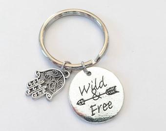 Wild and Free Keychain - Boho Keyring - Arrow keychain - Hands of Fatima Keyring - Hamsa Keyring - Traveler Keyring - Travel Buddies Gift