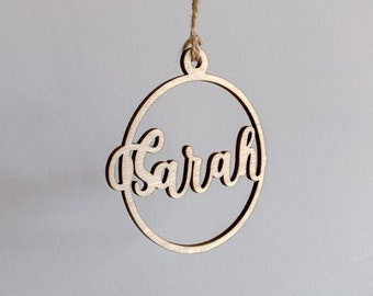 Personalised Wooden Ornament 2020, Custom Name Christmas Ornament, Round Wooden Name Ornament, Laser Cut Ornament, Calligraphy Ornament,