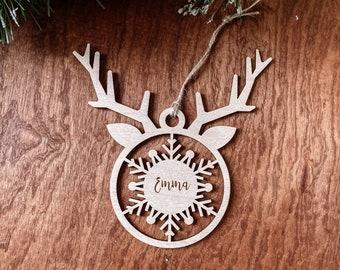 Personalised Christmas Ornament, Reindeer Christmas Ornament, Custom Name Ornament, Wooden Ornament, Laser cut Christmas ornament