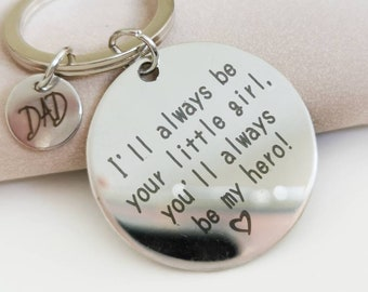 Dad Key Ring, Custom Initial Keychain, Fathers Day Gift from Daughter, Gift for Daddy, Gift for Father from Girl, Father Quotes Gift Charm
