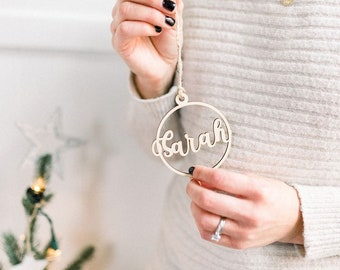 Personalised Christmas Ornament 2020, Wooden Ornament,  Custom Name Christmas Ornament, Name Ornament, Laser Cut Ornament