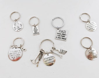 Father's Day Gift Idea, Dad Keyring, Dad Keychain, Gift for Dad, Gift for Daddy,  Gift for Grandpa, Number 1 Dad, My Dad My Hero