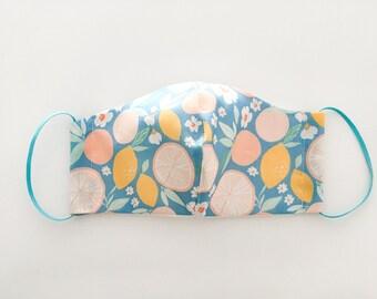 Citrus Lemon pattern  Face Mask, Summer Vibes Facemask, Reusable Face Mask, Washable mask with filter pocket