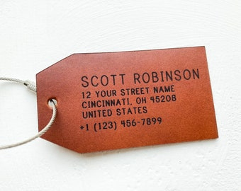 Personalised Leather Luggage Tag, Christmas Gift idea for Men, Holiday Gift Idea for Co worker, Corporate Gift Idea, Travel Bag Tag