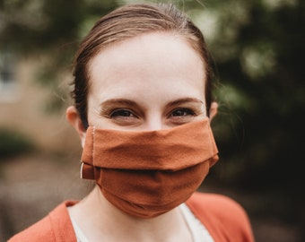 Solid Color Mask, Earth Tone color Mask, Reusable Face Mask with filter Pocket, Washable Facemask,