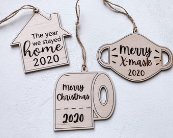 2020 Commemorative Christmas Decoration, 2020 Face Mask Ornament, Corona Virus Christmas Ornament, Toilet paper Ornament, Marry X mask,