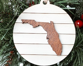 Florida State Map Christmas Ornament, Florida Christmas Gift, Shiplap  Farmhouse Rustic Christmas Decoration, Hometown pride Ornament.