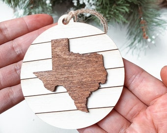 Texas State Map Christmas Ornament, Texas Christmas Gift, Shiplap ornament, Farmhouse style Christmas Decoration, Hometown pride Ornament.