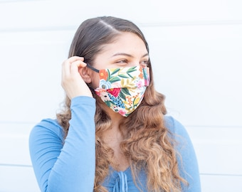 Floral Fabric Mask, Rifle Paper Co Fabric Mask, Mask for Women, Reusable Washable Mask, Face Mask filter pocket and adjustable, Pretty Mask