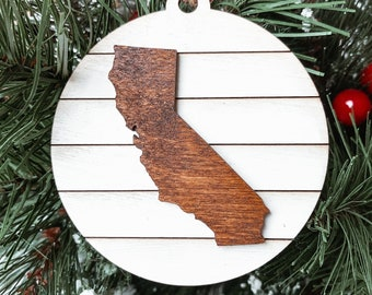 California State Map Christmas Ornament, California Christmas Gift, Shiplap  Farmhouse Rustic Christmas Decoration, Hometown pride Ornament.