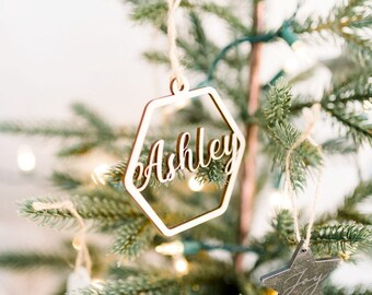 Custom Name Christmas Ornament, 2020 Xmas Ornament, Gift Tag  Hexagon Ornament, Wooden Ornament, Stocking Stuffer Ecofriendly Christmas