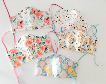 Floral Face Mask, Spring Summer Facemask, Reusable washable mask, mask with filter pocket, 100% cotton mask.