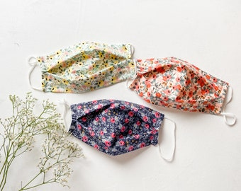 Rifle Paper Co fabric Mask, Floral Mask, Summer Face Mask, Reusable Face Mask  filter Pocket, Washable Facemask, Cotton Mask soft elastic