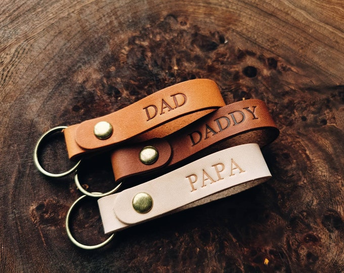 Featured listing image: Christmas Gift for Dad, Personalized Leather Keychain, Personalized Keyring, Gift For Dad, Gift for Grandpa, Gift for Men, Gift for Husband