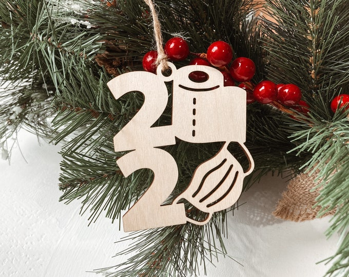 Featured listing image: 2020 Face Mask Ornament, Corona Virus 2020 Christmas Ornament, Toilet paper Ornament, Pandemic Ornament, 2020 Tree Decoration