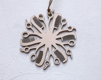 Hair Dresser Christmas Decoration, barber Christmas bauble. Scissor and comb Ornament.
